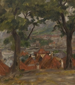 Artwork by Erik Werenskiold, Vågen in Bergen from the convent, Made of Oil on canvas