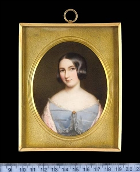A Lady, wearing pale blue dress By Cornelius Beavis Durham ,1849