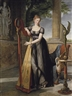 Antoine Ansiaux, Portrait of Marie-Denise Smits, née Gandolphe (1777-1857), full-length, in a black dress, playing a harp in an interior