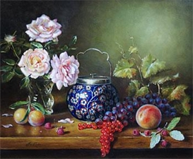 Artwork by Joseph Kivits, Still Life with Roses & Grapes, Made of Oil on board