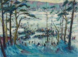 Artwork by Paul Paeschke, Ice Skaters, Made of Oil on canvas
