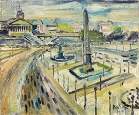 Artwork by Anton Räderscheidt, Place de la Concorde, Made of Oil on canvas