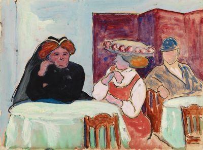 Artwork by Marianne von Werefkin, Gespräch im Café, Made of Tempera on paper