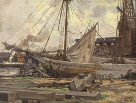 Artwork by Arthur E. Becher, Drydock, New York, Made of Oil on canvas