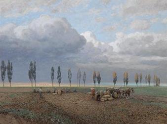 German Artist Potato Harvest Painting