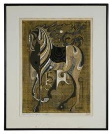 Artwork by Tadashi Nakayama, Woodblock Print of Horse, Made of woodblock print