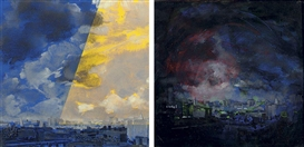 Artwork by Mark Innerst, View Over Tompkins Square Park, Made of diptych--oil and acrylic on canvas