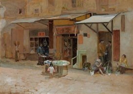 Artwork by Louis Comfort Tiffany, Chinatown, San Francisco, Made of watercolor and pencil on paperboard