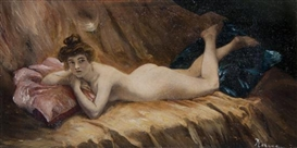 Artwork by Daniel Hernandez Morillo, Reclining Nude, Made of oil on board