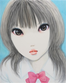 Artwork by Naoko Kadokura, Dear Girl II, Made of charcoal and oil on canvas