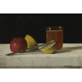 John F. Francis, Table Arrangement with Apple, Lemon, Glass and Knife
