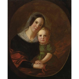 Artwork by George Caleb Bingham, Mrs. George Caleb Bingham and Son, Newton, Made of oil on canvas, unframed
