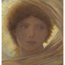 Artwork by Elihu Vedder, Portrait of a Young Woman, Made of oil on panel