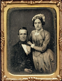 Artwork by Marcus Aurelius Root, Portrait of a Couple, c. 1846, Made of quarter-plate daguerreotype