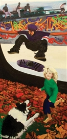 Artwork by Jacqueline Fahey, Skateboarder, Runnning Child and Jumping Dog, Made of oil on board