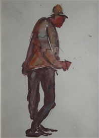 Artwork by Michael Healy, Dublin Figures (3), Made of Watercolours