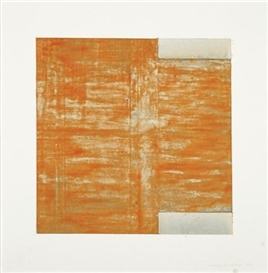 Artwork by Harvey Quaytman, Untitled (Orche & White), Made of Mixed media on paper on aluminum