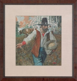 Artwork by Arthur E. Becher, a pilgrim seeding a field, Made of watercolor and gouache