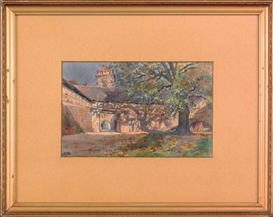 Arthur E. Becher, courtyard scenes, two are titled Rothenburg, the other Freiberg