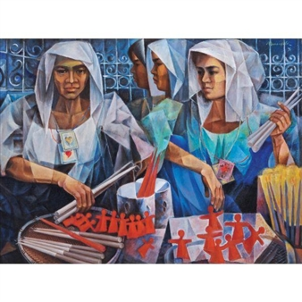 Candle Vendors By Vicente Manansala ,1976