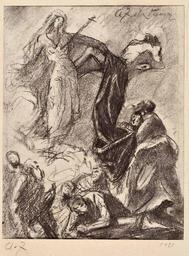 """Artwork by Anton Faistauer, """"Erscheinung der schmerzhaften Muttergottes mit dem toten Christus"""", Made of charcoal study on paper"""