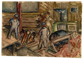 Construction Workers/Rural Landscape By Norman Lewis ,1943