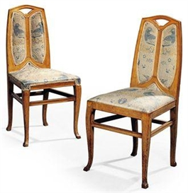 Artwork by Henry van de Velde, PAIR OF SIDE CHAIRS, Made of oak