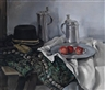 Louis Hofbauer, Still Life with Hat, Tin Tankards and Plate with Apples