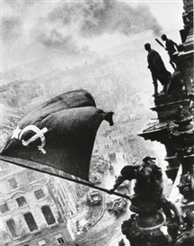 "Artwork by Yevgeny Khaldei, ""Raising the Soviet Flag over the Reichstag, Berlin, May 1945"" (variant), Made of Silver reprint"