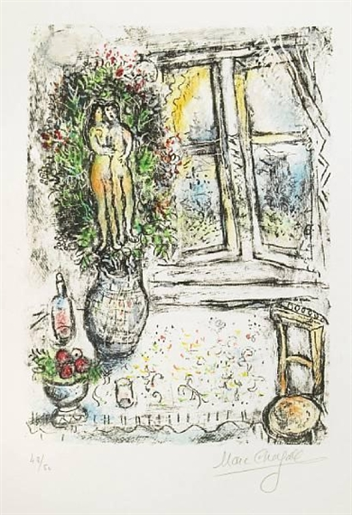 Marc chagall la bastille 1954 lithograph in for Fenetre bastille