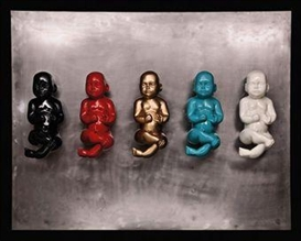 Artwork by Bita Fayyazi, Babies, Made of painted fibreglass on metal board