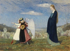 Artwork by Karl Caspar, Mariens Gang über das Gebirge, Made of Oil on canvas