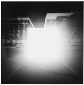 Artwork by Michael Wesely, Salzburg 1990 - Camera Controversa, Made of Black and white photographs
