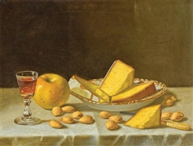 Artwork by John F. Francis, Still Life with Apple, Cake and Nuts, Made of oil on canvas