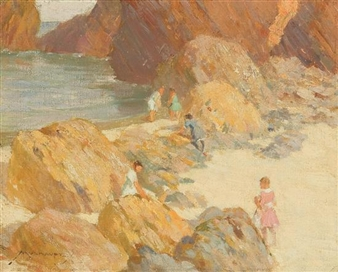 Children on a Rocky Coast By Frederick J. Mulhaupt