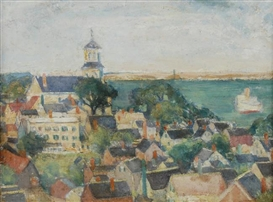Artwork by Nancy Maybin Ferguson, CHURCH OVERLOOKING THE BAY, Made of oil on board