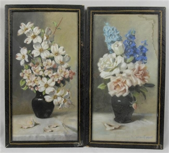2 WORKS: FLORAL STILL LIFE By Mae Bennett Brown