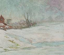 Artwork by Rodolphe de Saegher, SNEEUWLANDSCHAP, Made of Pastel