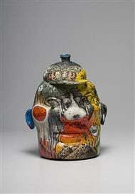 Artwork by Michael Lucero, Anthropomorphic Jug Head with Puppy (New World Series), Made of Glazed Ceramic