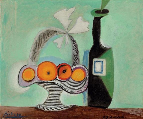 Picasso Pablo | Nature morte. Corbeille de fruits et bouteille (1937 ...