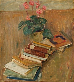 Karl Oscar Isakson, Still life with flowers and books