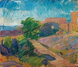 Karl Oscar Isakson, Landscape with mountains by the sea
