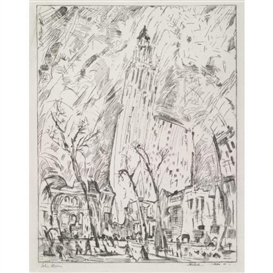 Artwork by John Marin, Woolworth Building (The Dance) (Zigrosser 116), Made of Etching and drypoint