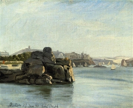Artwork by Lauritz Vilhelm Pacht, On the Nile at Aswan, Made of oil on canvas laid down on board