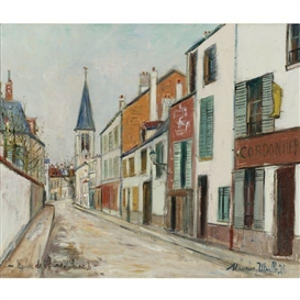 Artwork by Maurice Utrillo, ÉGLISE DE STAINS (SEINE), Made of Oil on canvas
