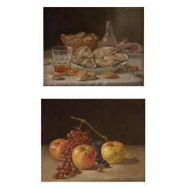 Artwork by John F. Francis, Still Life with Oysters; Still Life with Grapes and Apples, Made of Oil on board