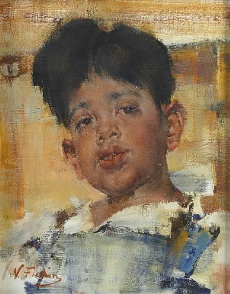 Nicolai fechin head of a boy oil on canvas for Nicolai fechin paintings for sale
