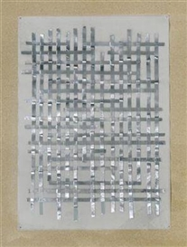 Artwork by Gerold Tagwerker, silver. grid, Made of tape on transparent paper