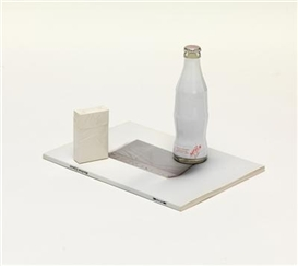 "Artwork by Manfred Erjautz, Setting: ""no drink - no smoke"",, Made of cigarette box and Coke bottle"