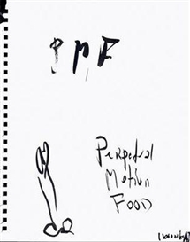 "Artwork by Rainer Ganahl, ""perpetual motion food"", Made of ink on paper"